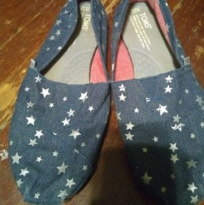 Toms blue with stars shoes size 7.5
